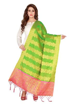 Green Art Silk Woven Stole And Dupatta