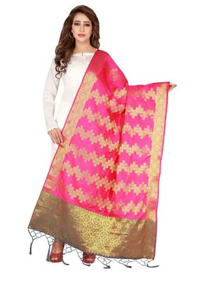 Pink Art Silk Woven Stole And Dupatta