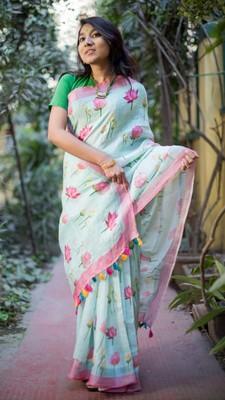Multicolor linen digital print saree with blouse