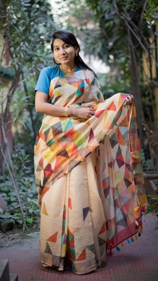 Multicolor Linen Digital Print Saree With Blouse