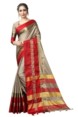 Beige and Red Woven Soft Cotton Banarasi Silk Saree With Blouse