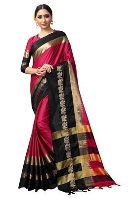 Pink and Black Woven Soft Cotton Banarasi Silk Saree With Blouse