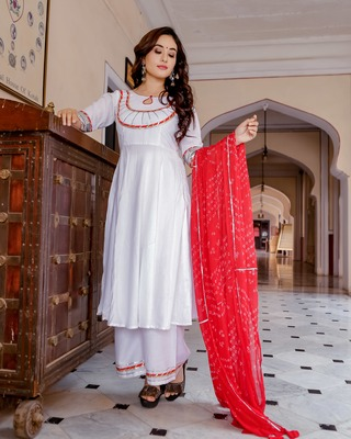 white embroidered Rayon stitched salwar with dupatta