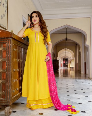 yellow embroidered Rayon stitched salwar with dupatta