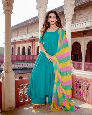 Turquoise embroidered Rayon stitched salwar with dupatta