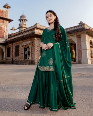 green embroidered Rayon stitched salwar with dupatta