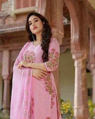 pink embroidered cotton stitched salwar with dupatta