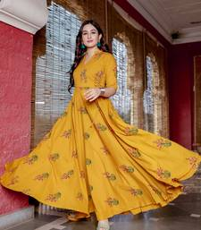 mustard embroidered cotton kurtis