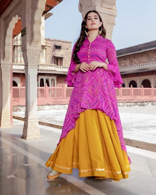 multicolor embroidered Crepe Silk kurtis