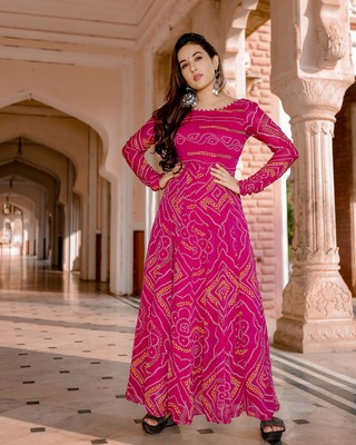 pink embroidered Crepe Silk kurtis