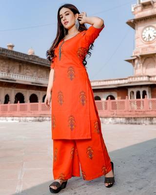 orange embroidered Cotton kurtis