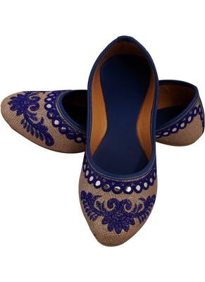 Rudra blue pu leather traditional mojari for girl's & women's footwear