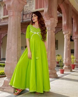 green embroidered cotton slub kurtis