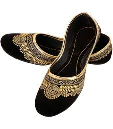 Rudra black pu leather traditional mojari for girl's & women's footwear