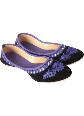 Rudra purple pu leather traditional mojari for girl's & women's footwear