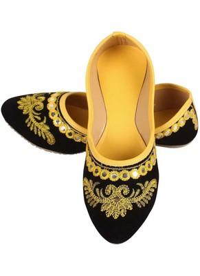 Rudra yellow pu leather traditional mojari for girl's & women's footwear