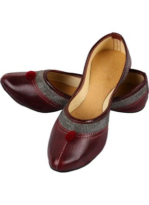 Rudra brown pu leather traditional mojari for girl's & women's footwear