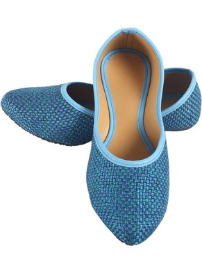 Rudra blue pu leather traditional mojari for girl's & women's footwear