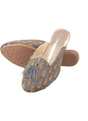 Rudra grey pu leather traditional mojari for girl's & women's footwear