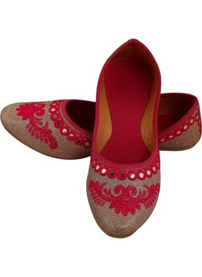 Rudra pink pu leather traditional mojari for girl's & women's footwear