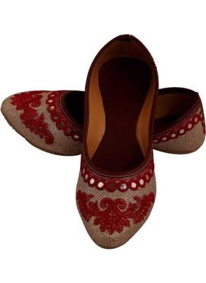 Rudra red pu leather traditional mojari for girl's & women's footwear
