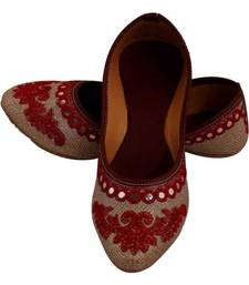 Rudra red pu leather traditional mojari for girl's & women's footwear