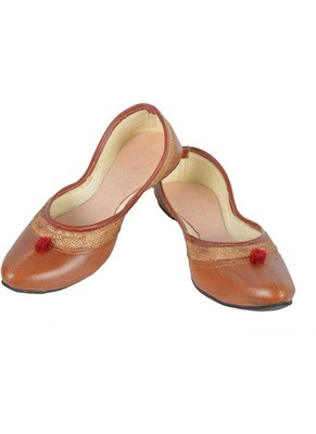 Rudra brown pu leather traditional mojari for girl's & women's footwear