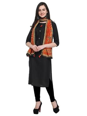Black plain art silk kurta sets