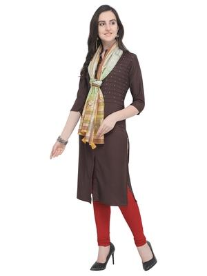 Brown plain art silk kurta sets