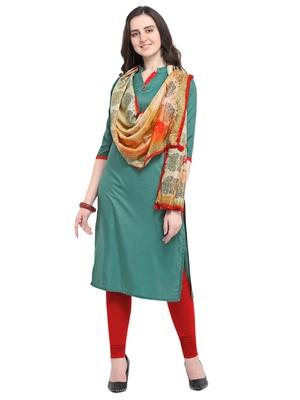 Green plain art silk kurta sets