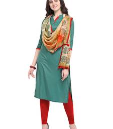 Green plain art silk kurta sets