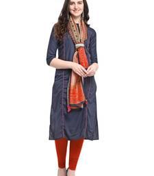 Navy-blue plain art silk kurta sets