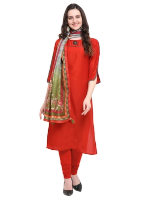 Red plain art silk kurta sets