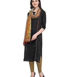 Black plain art silk kurta sets