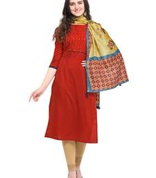 Maroon plain art silk kurta sets