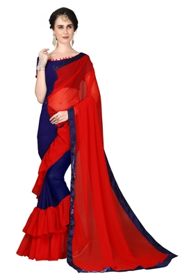 Red plain georgette ruffle saree with blouse