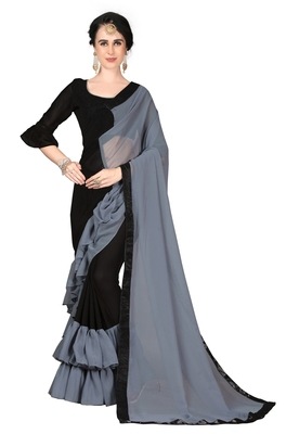 Grey plain georgette ruffle saree with blouse