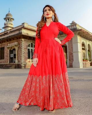 Red Amore Handblock Dress