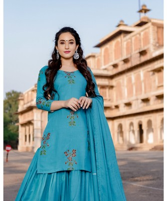 teal blue embroidered Rayon stitched salwar with dupatta