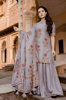 0eb4e713888 grey embroidered Rayon stitched salwar with dupatta