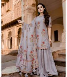 grey embroidered Rayon stitched salwar with dupatta