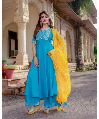 blue embroidered Rayon stitched salwar with dupatta