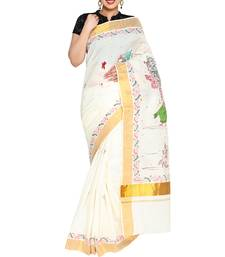 off white hand woven cotton saree with blouse