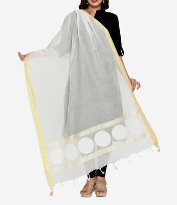Beige weaving print jute cotton dupattas