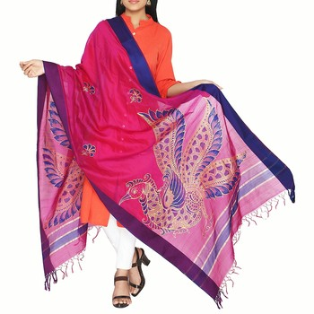 Purple hand print art silk dupattas