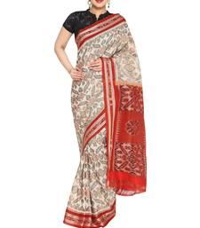 beige hand woven cotton saree