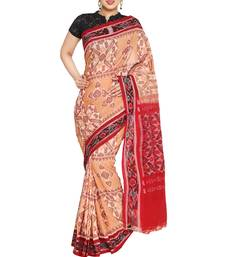peach hand woven cotton saree