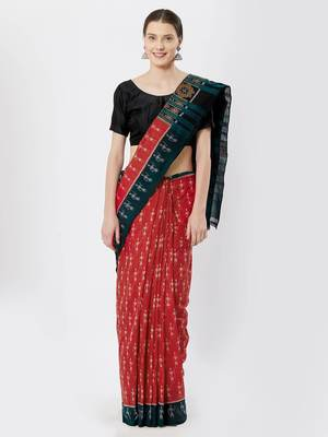 red hand woven cotton saree with blouse