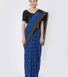 blue hand woven cotton saree