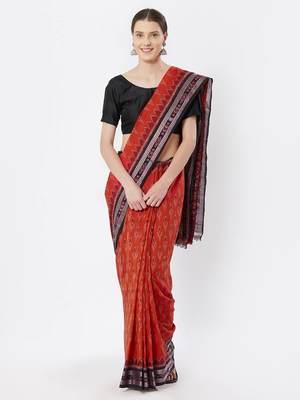 orange hand woven cotton saree